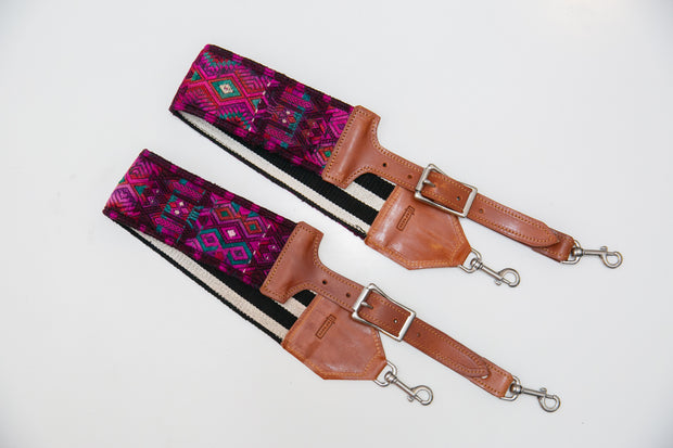 Guatemalan hand embroidered floral bag straps