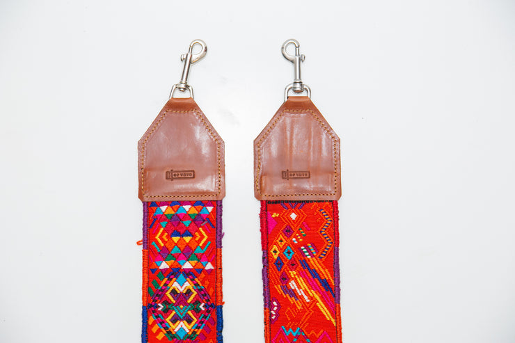 Guatemalan hand embroidered aztec bag straps - reds and oranges