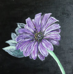 original acrylic painting of a purple flower