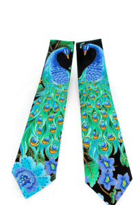 EPIC Peacock tie www.GroovyTieSquad.com colorful feathers plumage