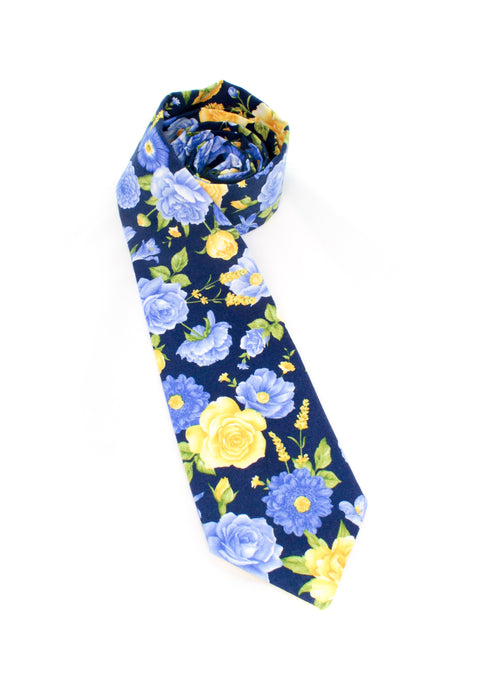 tie flowers floral navy yellow blue periwinkle necktie gift for him gift for dad www.GroovyTieSquad.com