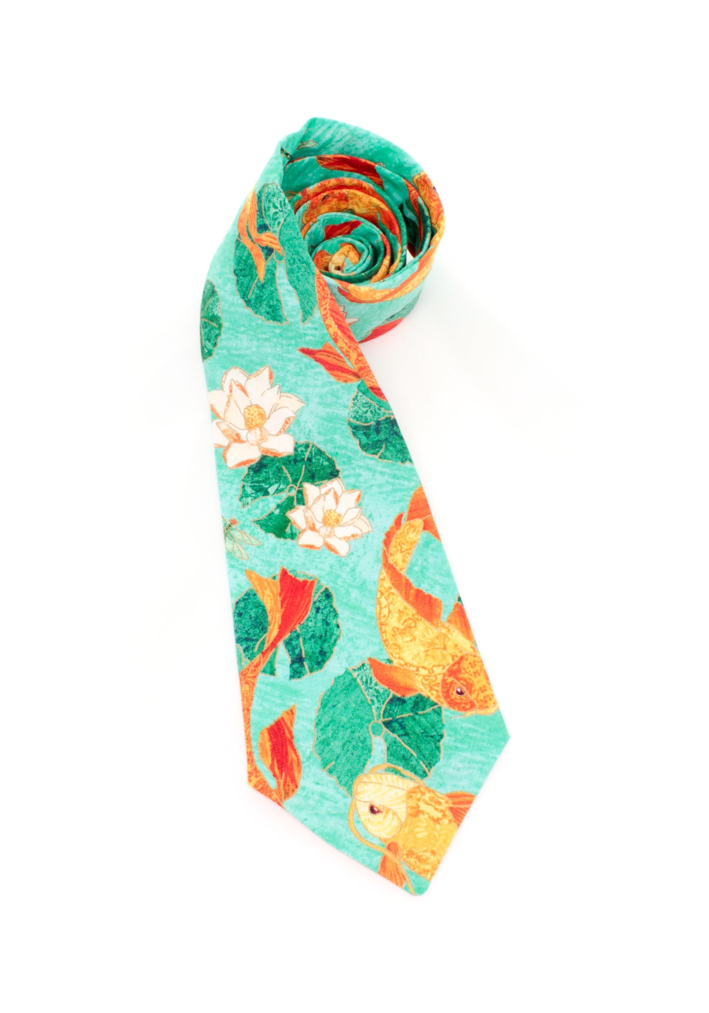 tie koi fish necktie animals theme lily pads unique beautiful teal orange www.GroovyTieSquad.com