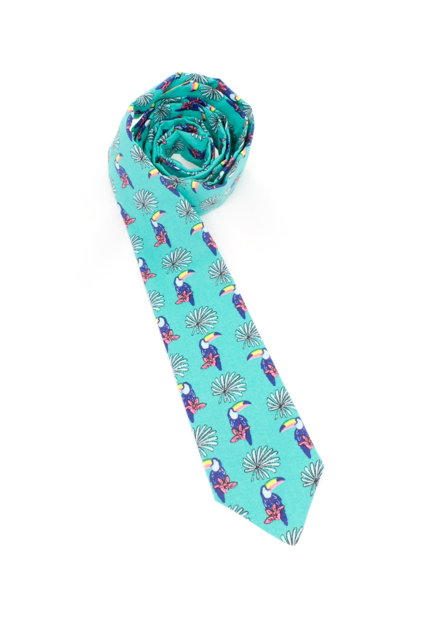tie toucan bird theme fun turquoise necktie tropical animal www.GroovyTieSquad.com