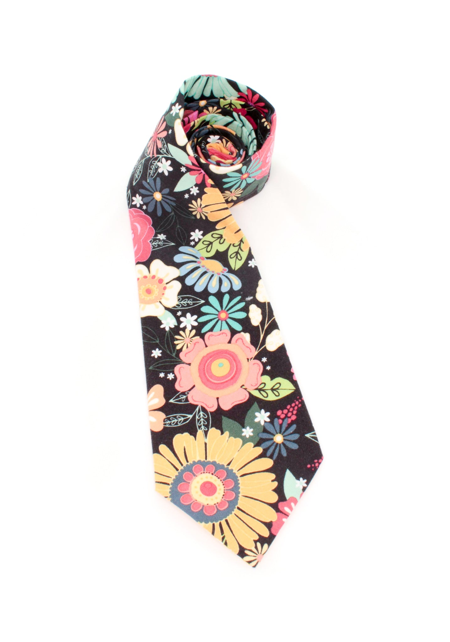tie floral pattern colorful flowers necktie www.GroovyTieSquad.com