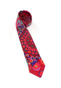 tie red blue pattern necktie kaleidoscope fun colorful unique www.GroovyTieSquad.com