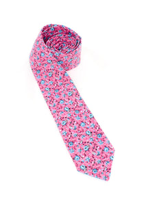 tie floral pink blue flowers necktie gift for him www.GroovyTieSquad.com