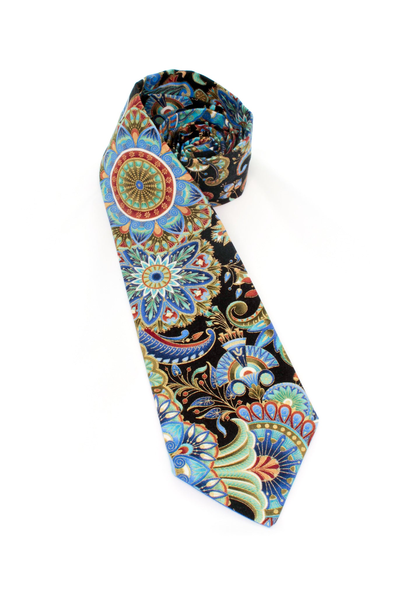 tie metallic gold black blue pattern design beautiful gift for him gift for dad necktie www.GroovyTieSquad.com