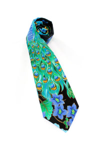 tie peacock unique teal bird beautiful gift for him gift for dad feathers animal www.GroovyTieSquad.com