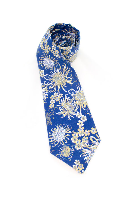 tie blue gold metallic flowers necktie beautiful www.GroovyTieSquad.com