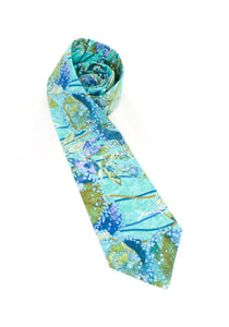 tie teal olive dandelion pattern necktie gift for him www.GroovyTieSquad.com