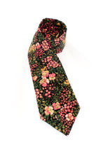 Load image into Gallery viewer, tie floral flowers olive pink necktie gift for him www.GroovyTieSquad.com