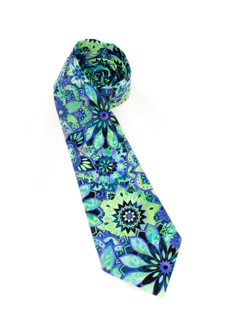 tie necktie groovy blue colorful groovy kaleidoscope bright unique beautiful www.GroovyTieSquad.com