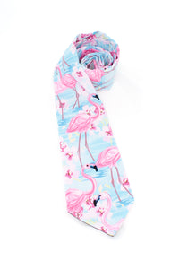 tie flamingos pink light blue necktie animals bird beach gift for him gift for dad www.GroovyTieSquad.com