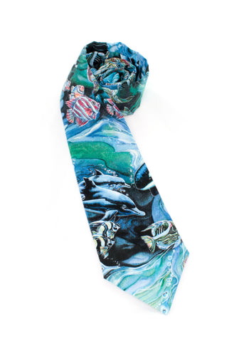 tie ocean animals necktie theme sea water fish fun unique www.GroovyTieSquad.com