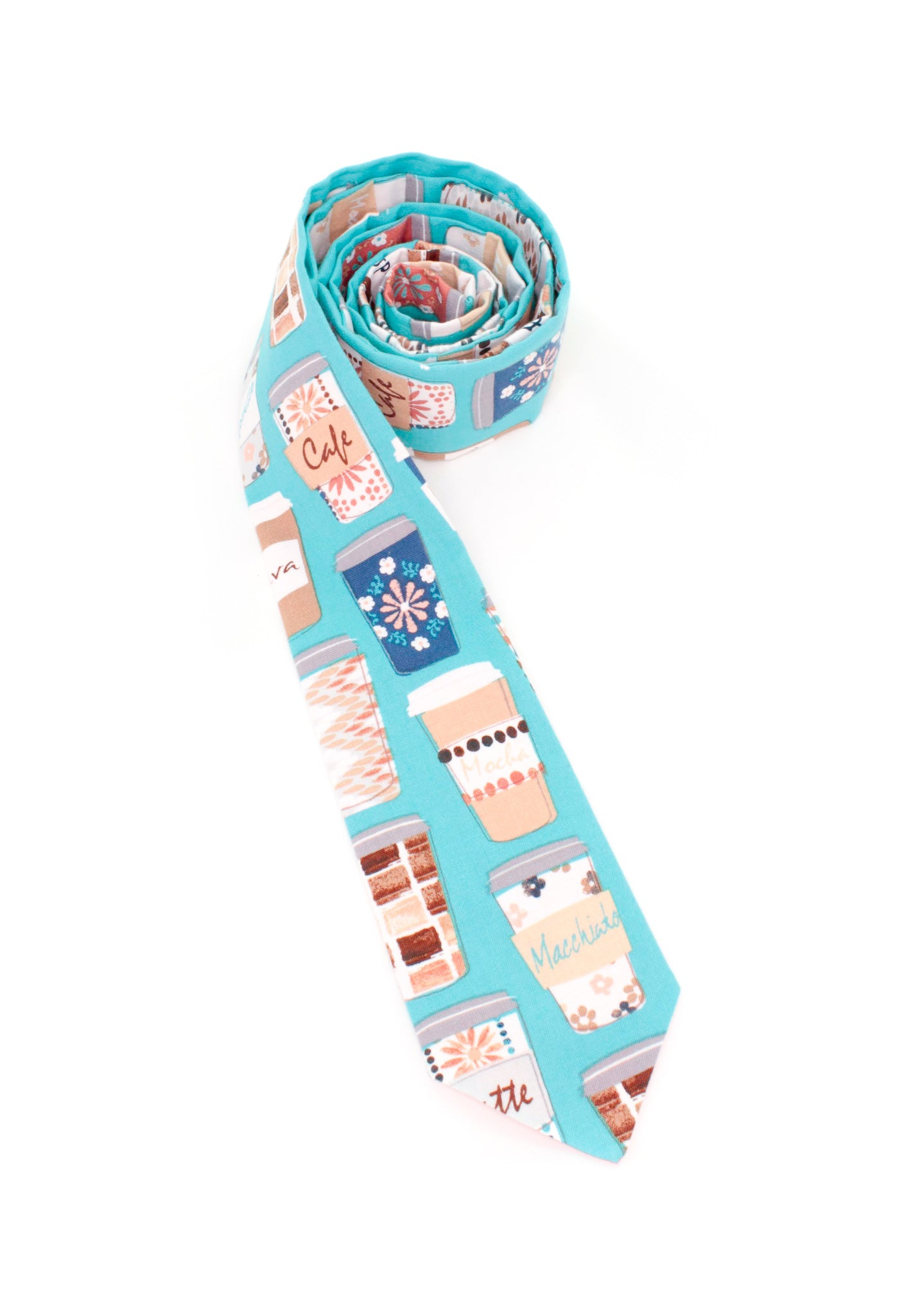 tie coffee cups necktie food theme turquoise fun www.GroovyTieSquad.com
