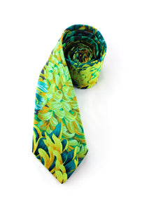 tie floral green teal grey gray flowers beautiful stunning striking necktie colorful bright www.GroovyTieSquad.com