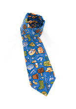 Load image into Gallery viewer, tie fishing theme fun gift for dad gift for him blue necktie www.GroovyTieSquad.com