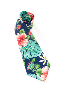 tie tropical hibiscus floral navy teal unique necktie gift for him www.GroovyTieSquad.com