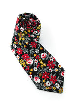 Load image into Gallery viewer, tie black white red flowers yellow classy necktie www.GroovyTieSquad.com