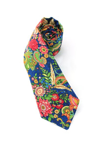 tie floral flowers foliage navy beautiful unique colorful gift for him gift for dad necktie www.GroovyTieSquad.com