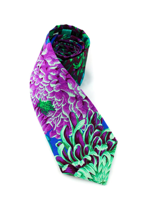 tie floral purple teal beautiful stunning necktie flowers colorful striking unique www.GroovyTieSquad.com