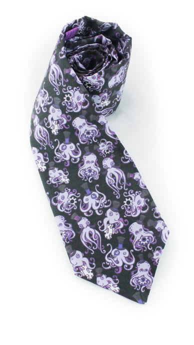 tie octopus steampunk octopi necktie purple groovy fun cartoon www.GroovyTieSquad.com