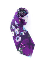 Load image into Gallery viewer, tie purple white flowers floral beautiful gift for him gift for dad www.GroovyTieSquad.com