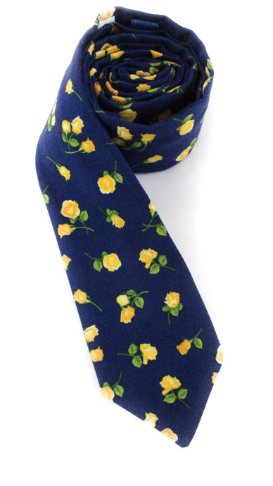 tie navy yellow roses flowers simple beautiful necktie www.GroovyTieSquad.com