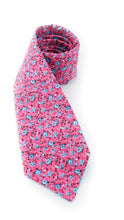 Load image into Gallery viewer, small blue flowers pink floral tie www.GroovyTieSquad.com