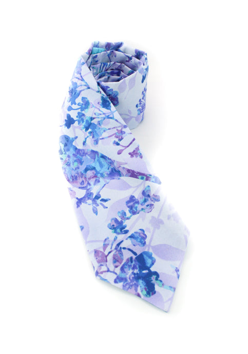 tie birds flowers pale lavender purple blue beautiful necktie www.GroovyTieSquad.com