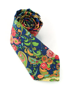 Magnificent paisley tie floral and foliage on navy background