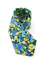 Load image into Gallery viewer, tie blue yellow flowers floral turquoise necktie www.GroovyTieSquad.com