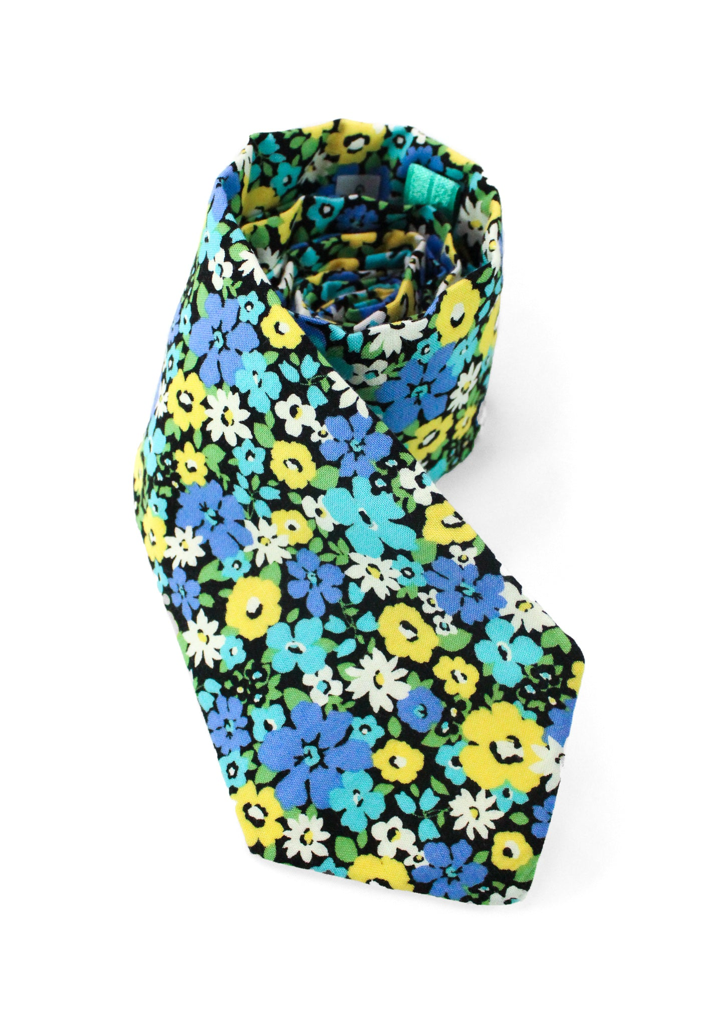 tie blue yellow flowers floral turquoise necktie www.GroovyTieSquad.com