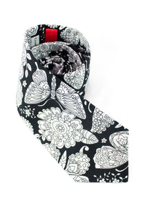 tie butterflies black and white butterfly floral great gift for dad fun necktie www.GroovyTieSquad.com
