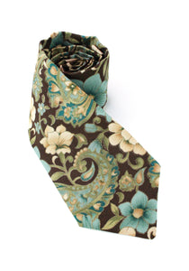 tie floral paisley brown beige metallic gold teal flowers necktie gift for him gift for dad www.GroovyTieSquad.com