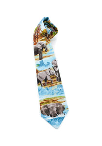 tie elephant African elephant international convention animals necktie safari theme fun unique www.GroovyTieSquad.com