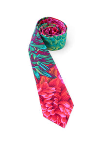 tie floral flowers pink teal blue striking stunning bright colorful unique necktie gift for him gift for dad www.GroovyTieSquad.com