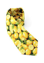 Load image into Gallery viewer, tie lemons food fruit theme yellow fun unique lemon necktie www.GroovyTieSquad.com