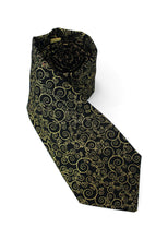 Load image into Gallery viewer, tie metallic gold swirls black necktie gift for him gift for dad beautiful www.GroovyTieSquad.com