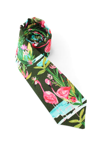 tie flamingo nature birds necktie green animals fun www.GroovyTieSquad.com