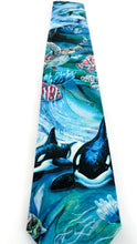 Load image into Gallery viewer, amazing ocean tie dolphins orca whales sea turles necktie www.GroovyTieSquad.com