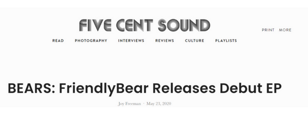 Five Cent Sound Bears EP Review - BEARS: FriendlyBear Releases Debut EP