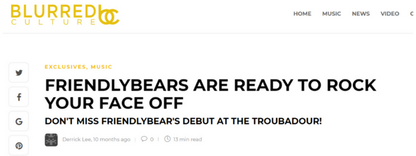 Blurred Culture Interview - FRIENDLYBEARS ARE READY TO ROCK YOUR FACE OFF