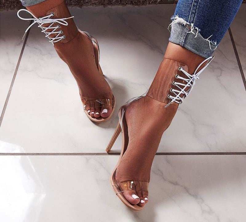 Jelly Clear PVC Lace Up Sandals Open Toed Transparent Ankle Strap High Heels - OneMoreShoes