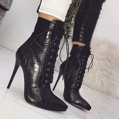 Lace Up Snakeskin Grain Thin High Heel Zipper Ankle Boots - OneMoreShoes