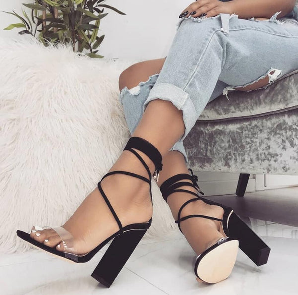 Ankle Strap Lace Up Square Heel Cross-tied Lady Sandals Shoes - OneMoreShoes
