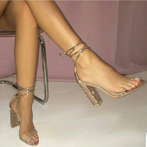 Lace Up Sparkling Crystal Diamond Square High Heel Sandals - OneMoreShoes