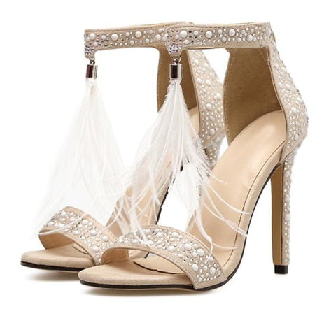 Rhinestone Zipper Feather Thin High Heel Sandals Apricot - OneMoreShoes