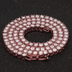 Corrente Cravejada Ice (4mm). Cor: Rose Gold