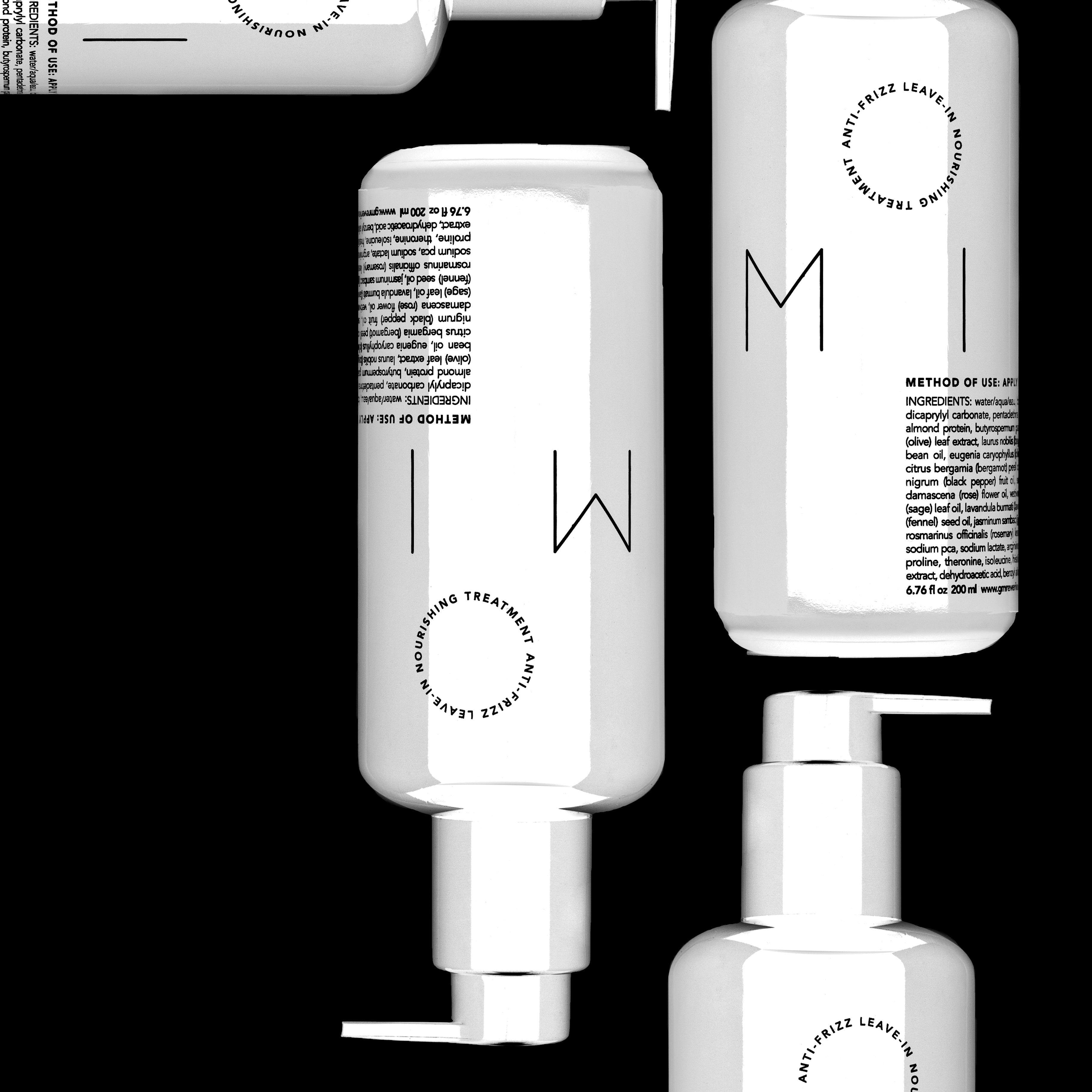 Milk XL is seen in a minimal style with inverted colors- the bottle is white with black text against a black background.